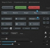 Dark Mega Web UI Elements Kit PSD