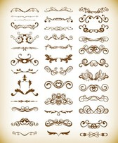 Vector Set of Vintage Floral Frame