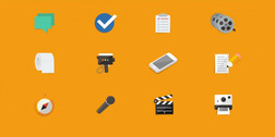 12 Flat Media and Other Icons Vector Set