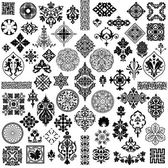 Decorative Vintage Black-White Ornament Set