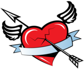 Red Winged Heart Banner with Arrow Free