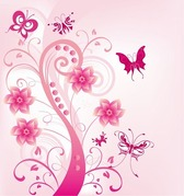 Pink Floral Swirl with Butterfies
