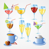 Drink Vector Set: Cocktails, Champagne & Coffee (Free)