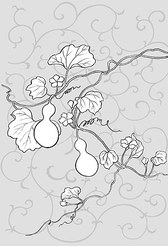 Japanese Line Drawing Of Plant Flowers Vector Graphic -22 (