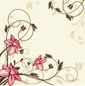 Simplistic swirling vintage floral background