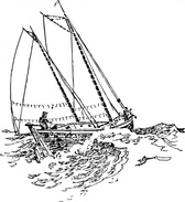 Boat Sailing In Strong Waves