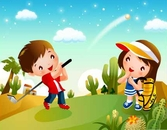 Children's Golf vector material 2