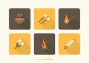 Free Camp Fire And Marshmallows Vector Icons
