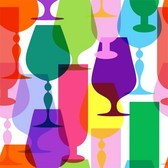 Colorful Wine Glass Silhouettes Vector Set