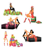 Sexy Christmas Girls - Vector Sexy Christmas Session Gift