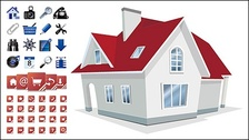 House with 2 sets of utility icon