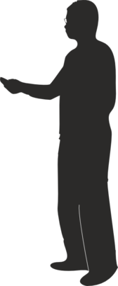 Male silhouette presenting or pointing