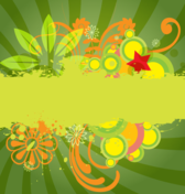 Green Sunburst Vector Background with Flowers