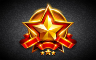 Gold Star Red Ribbon Badge Logo