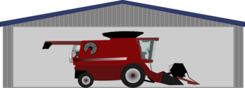 Combine harvester in shed