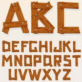 Wooden alphabet design vector-2