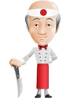 Asian Chef Vector Zeichen