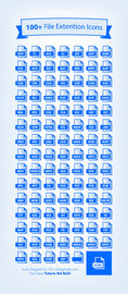 One Hundred Blue File Extension Icons