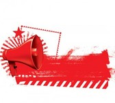Red megaphone abstract