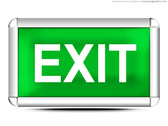 Green exit sign (PSD)