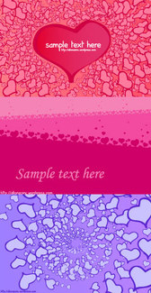 3 Valentines Day Heart-shaped Card Background Vector Material Valentines Day