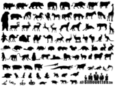 Collection de Silhouettes animaux vecteur libre