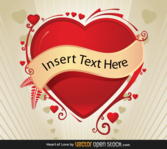 Valentines Background with Red Heart Banner Vector Free