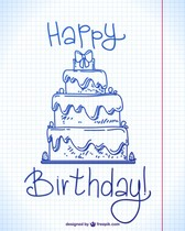 Happy birthday ink doodle design