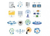 16 Blue Technology Style Icons PSd