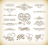 Floral Elements for Valentine Day Vector Set