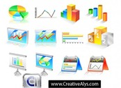 12 Colorful Business Chart Vector Icons Set