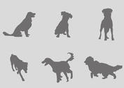 Gray Silhouettes of Dogs