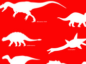 Dinosaur on red background free