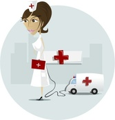 Nurse in front of hospital and reanimation car