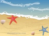 Summer Beach Vector Background Design with Starfish and Shells