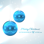 Blue Abstract Baubles on Grey Xmas Background