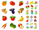 Vegetables, Fruits, Flowers Icon Vector Graphic Movement