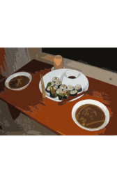 A candlelight sushi dinner