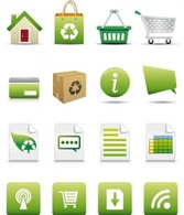 Online Shopping Icon Set Natural Concept