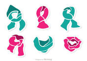 Set Of Neck Scarf Vector Pack 2
