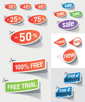Nice Discount Sales Sticker Vector Discount Promotions On Sale Half Price Free Delivery Shipping Trial