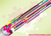 Paint Bucket Vector With Colorful Lines
