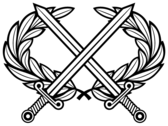 Heraldic Cross Swords with Laurel Wreath Vector