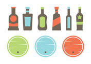 Whiskey Barrel and Bottle Vectors