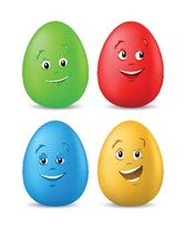 Funny coloured easter eggs