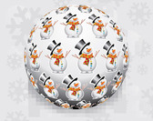3D Christmas Ball with Snowman Pattern