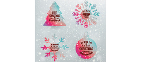 4 Colorful Christmas Vector Elements