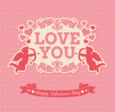 Valentine's Day greeting cards vector material Cupid archery