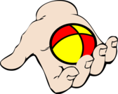 hand with juggling ball
