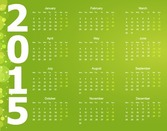 Vector Calendar for 2015 Year with Green Background